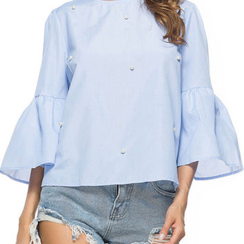 3/4 Flare Sleeve Pearls Pullover Blouse - NOVASHE.com