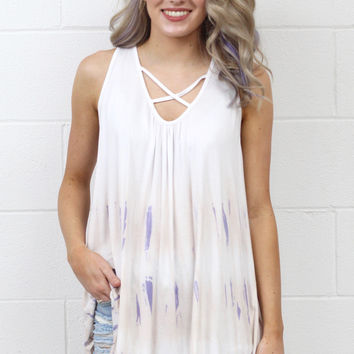 Tie Dye X-Mark Strappy Tank {Ivory Mix}