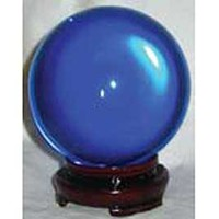 Blue Crystal Ball with Wooden Stand - 50 mm at Every Witch Way Online Shop