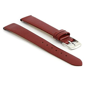 StrapsCo Stylish Matte Burgundy Leather Watch Strap size 14mm