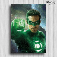 Green Lantern poster justice league art superhero painting kids gift