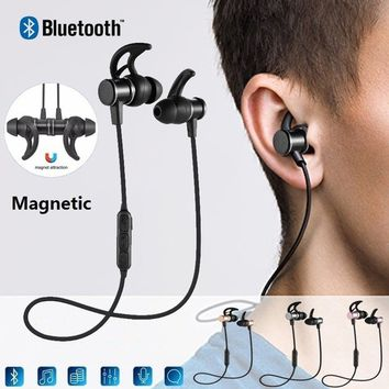 Wireless Bluetooth  Earphone V4.1 Metal Magnetic Earphones Super Bass Stereo Headset Sport Runing Headphone with Mic for Smartph