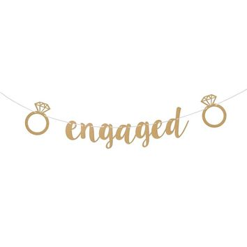 Engaged Gold Glitter Banner for Bachelorette Party Bridal Shower Engagement Party Wedding Shower Hen Party Decorative Sign