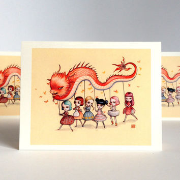 Dragon Dancers - It's High Time for a Party  - set of 3 blank notecards - by Mab Graves