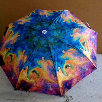 Art Umbrella Abstract Landscape Energy of dreams Blue Yellow Red Purple
