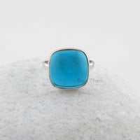 Huge Gorgeous London Blue Quartz Cushion Gemstone 925 Sterling Silver Bezel Ring Jewelry, Bridal Ring, Gift Jewelry, 14mm - #1012