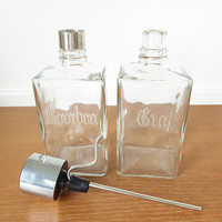 Etched Bourbon and Gin liquor decanters with one pump dispenser, mid century barware