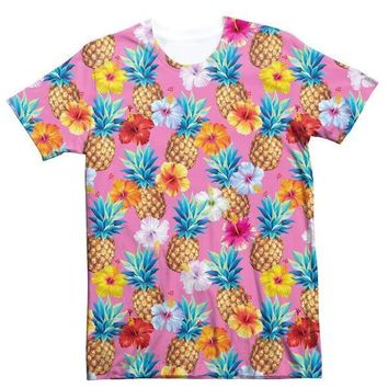 Summer O-Neck Style Tee Pineapple 3D Print T-Shirt Women/Men Tumblr Crewneck Hip Hop Flower Fashion Outfits Popular tshirts