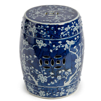Beautiful Vintage Style Blue and White Porcelain Garden Stool Cherry Blossom