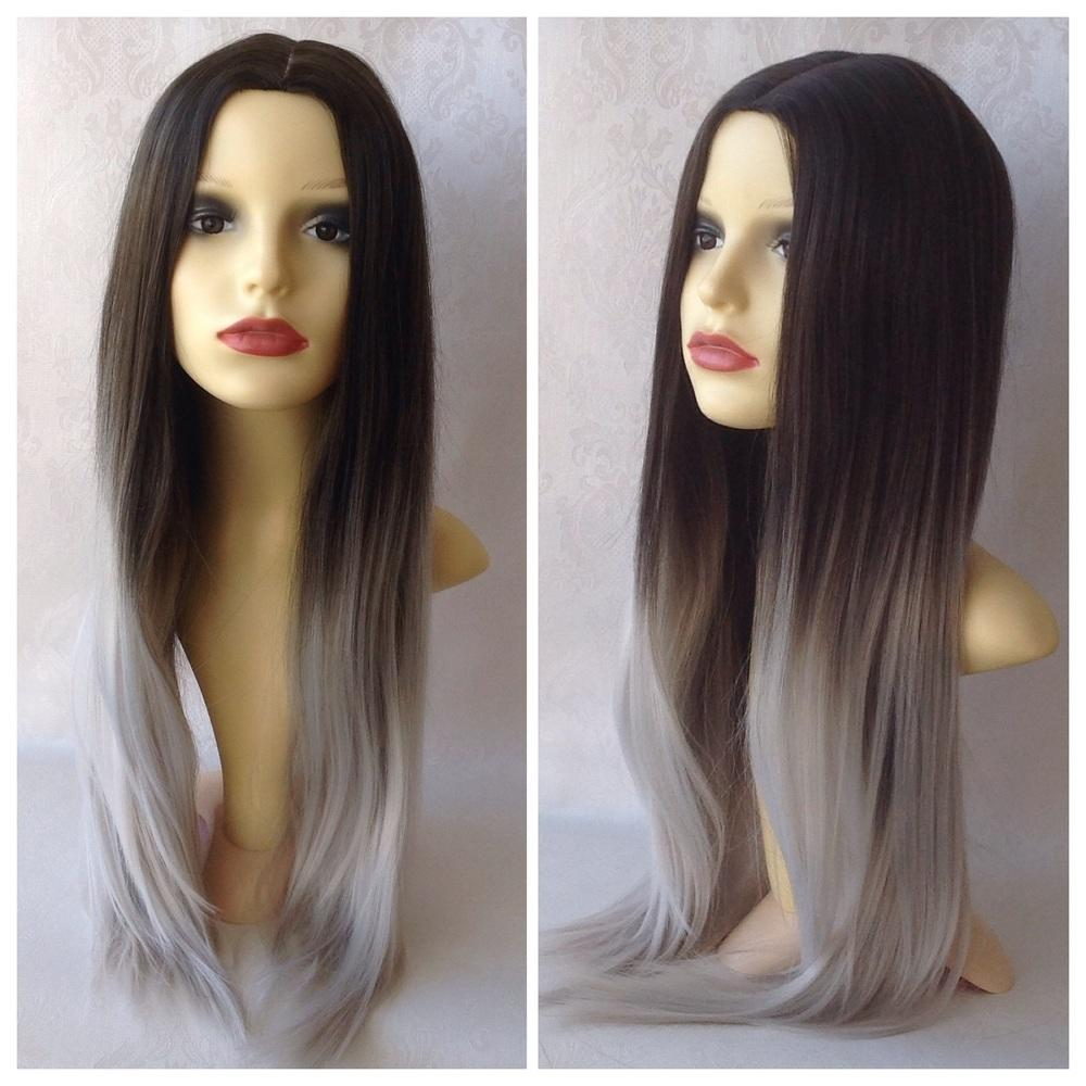 Silver Ombre, Dark Brown Grey Ombre from geishawigs ...