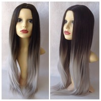 Silver Ombre, Dark Brown Grey Ombre Dipdye Gothic Lolita Cosplay Wig