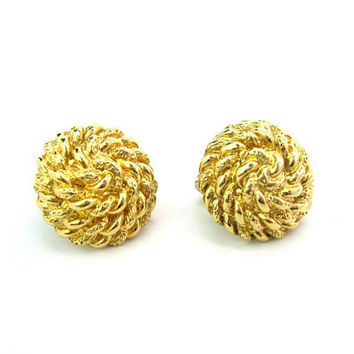 Monet Dome Earrings. Gold Tone Coiled Rope. Button Comfort Clips. Vintage 1980's Nautical Fashion Jewelry