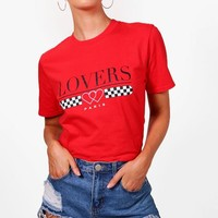 Olivia Lovers Slogan T-Shirt | Boohoo