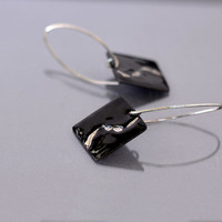 Artisan earrings - long black earrings - black enamel and sterling silver - handmade OOAK jewelry by Alery