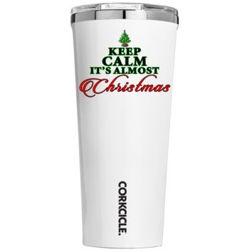 Corkcicle 24 oz Keep Calm Its Almost Christmas on White Tumbler