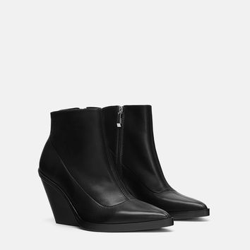 LEATHER WEDGE ANKLE BOOTS DETAILS