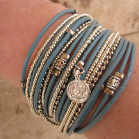 Turquoise Leather Wrap Bracelet with Metallic by DesignsbyNoa
