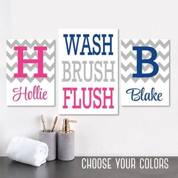 Brother Sister BATHROOM Wall Art, Kid Child Bathroom Art CANVAS or Prints Boy Girl Monogram Bathroom Wall Decor, WASH Brush Flush Set of 3
