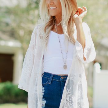 Detailed Lace Cardigan White
