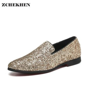 Europe bling Flat Leather Shoes Rhinestone Fashion Mens Loafer Dress Shoes Men Casual