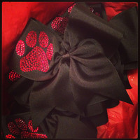 Red paw on black Cheer Bow