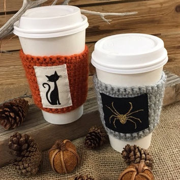 Halloween cup cozy, coffe gift, cup cozy, cat lover, gift for her, stocking stuffer, cat person, cat gift, coffee sleeve,