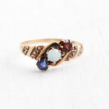 SALE- Antique 10K Rosy Yellow Gold Opal, Sapphire, & Garnet Ring - Victorian Late 1800s Three Stone Bypass Size 6 1/2 Fine Jewelry