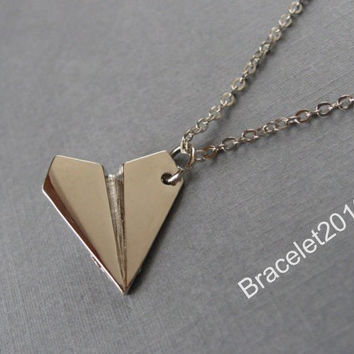 Necklace,Paper Airplane necklace,One Direction paper airplane band UK boy band music harry styles