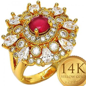 Gold Layered Women Multi Stone Ring, with Ruby Cubic Zirconia, by Folks Jewelry