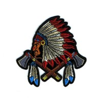 "Embroidered Iron On Patch - Colorful American Indian Chief 4"" Patch"