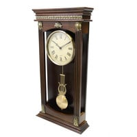 "Collection Chestnut 22"" wooden Wall Clock with Pendulum - Reconditioned"