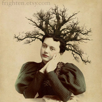 Nature Inspired Art Print, Twiggy, Altered Portrait of a Victorian Woman, frighten