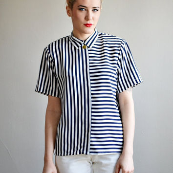 Vtg navy striped SILKY blouse top // MINIMAL mod gold button up collared BOXY shirt top
