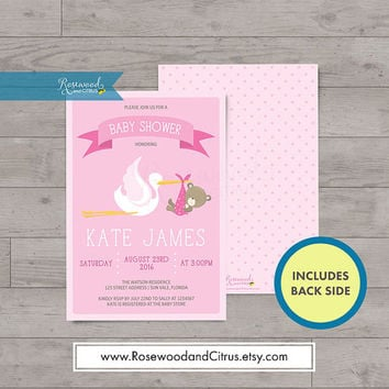 Pink Baby Shower Invitation, Girl Baby Shower Invitation, Stork Baby Shower, Baby Shower Printable, Printable Baby Shower Invites, Baby Bear