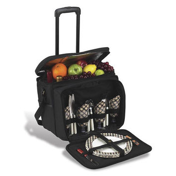 Wheeled Picnic Cooler for 4, Black, Acrylic / Lucite, Coolers & Thermal Bags