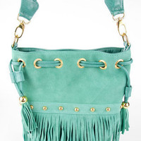 Braided Fringe Bucket Bag in Spearmint :: tobi