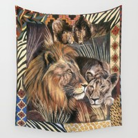 Lions Wall Tapestry by Azure Avenue