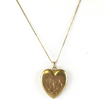 Antique Victorian Heart Locket Necklace Estate Large Gold Filled Edwardian Engraved Photo Locket Vintage Jewelry Monogram Christmas Gift