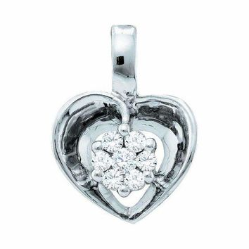 10kt White Gold Women's Round Diamond Small Heart Cluster Pendant 1-12 Cttw - FREE Shipping (US/CAN)