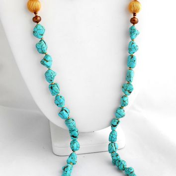 BOHEMIAN RUSTIC LONG NECKLACE AND EARRINGS SET