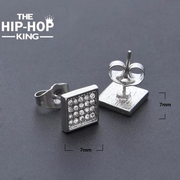 Hip Hop Crystal Micro Paved square Stud Earrings High quality Exquisite Man Stud Earrings