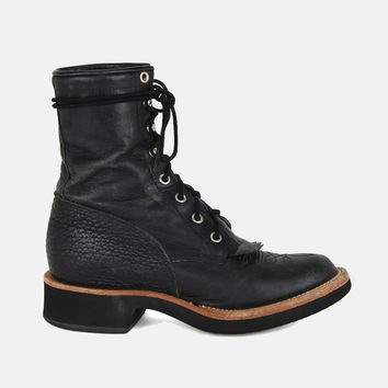 Midnight Rambler Justin Lace Up Leather Boots