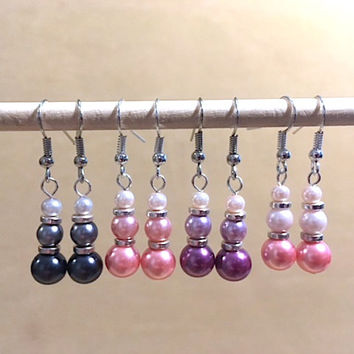 Graduated Hombre Pearl & Silver Dangle Earrings, Handmade Original Fashion Jewelry, Classic Simple Sophisticated Custom Wedding Jewelry Gift
