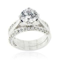 Icz Stonez Sterling Silver Cubic Zirconia Bridal Ring Set | Overstock.com