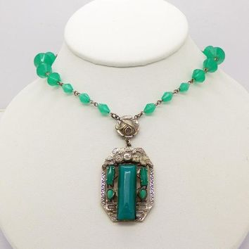 Vintage Chrysoprase Glass Czech Necklace Art Deco Rose Lariat