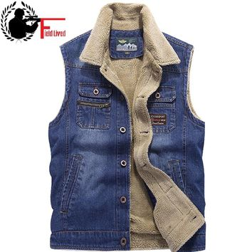 Sleeveless Bodywarmer Vest Jacket Men Winter Warm Fleece Male Casual Biker Waistcoat Cotton Many Pocket Denim Vest Outwear 2018
