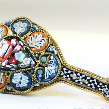Antique Venetian Micro Mosaic Trombone Clasp Brooch Handmade in Italy