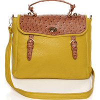 Chic Yellow Handbag - Ostrich Handbag - Vegan Handbag - $52.00