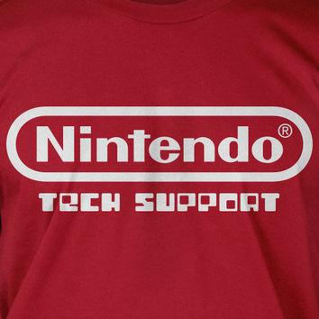 Nintendo Tech Support Video Game Geek Nerd  T Shirt Photography Gifts for Gamers Screen Printed T-Shirt  mens womens ladies youth kids