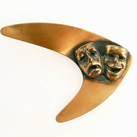 Retro Copper Comedy Tragedy Theatrical Brooch